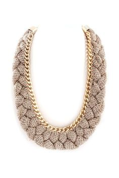 Gold Mesh Necklace.