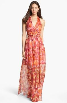 Laundry by Shelli Segal 'Sun Shadow' Print Halter Dress available at #Nordstrom