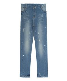 Blue Slim Distress Jean in Tapered Fit from Chicnova
