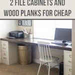 Build a huge desk from 2 file cabinets and wood planks!