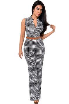 9811f64d076a Circle Print Belted Wide Leg Jumpsuit MB60932-22 Romper Long Pants