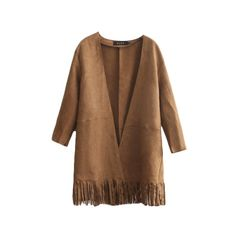 Suede V-Neck Long Sleeve Tassel Hem Open Front Coat (46 CAD) ❤ liked on Polyvore featuring outerwear, coats, beautifulhalo, suede leather coat, long sleeve coat, suede coat, brown coat and brown suede coat