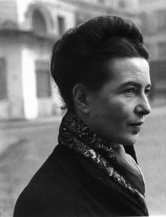 """Simone de Beauvoir. French existentialist, feminist, and Sartre's long-time love. """"Change your life today. Don't gamble on the future, act now, without delay."""""""