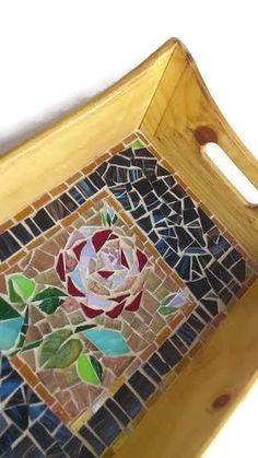 Mosaic Tray Glass mosaic Serving Tray Rose by MosaicMargalita