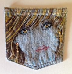 Painting Faces On Fabric   Woman's face painted on denim fabric by Artbyjpennington
