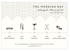 wedding day timeline schedule of events invitation card | coloring, Wedding invitations