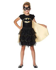 Kids Batgirl Dress - DC Comics - Get your child ready to fight crime in style with this fun and officially licensed Batgirl dress! This dress is black with a gold-colored cape, Halloween 2018, Spirit Halloween, Batgirl, Dc Comics, Peplum Dress, Cute Outfits, Wonder Woman, Superhero, Kids