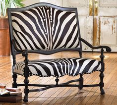 Zebra Savannah Upholstery Exotic furnishings inspired by the African plane appeal to your wild, adventurous side. Funky Furniture, Furniture Decor, Black Furniture, Animal Print Furniture, Take A Seat, Zebra Print, Decoration, Sofa Chair, Cowhide Chair