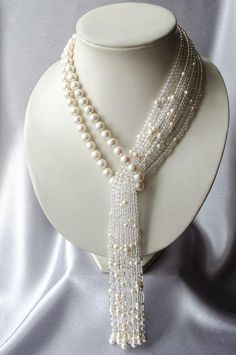"Necklace-tie of pearl with rock crystal ""Waterfall"" Perlen Quaste Halskette mit Bergkristall Wasserfall Pearl Jewelry, Beaded Jewelry, Jewelery, Handmade Jewelry, Beaded Necklace, Necklaces, Crystal Necklace, Bracelets, Collar Necklace"