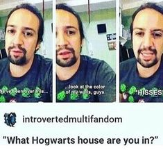 Lin's in the same house as me! Slytherin all the way Lin Manuel Miranda ❤💚🐍 Hamilton Musical, Lin Manual Miranda, Slytherin Pride, Ravenclaw, Broadway, Hamilton Lin Manuel Miranda, Dear Evan Hansen, Alexander Hamilton, Oui Oui
