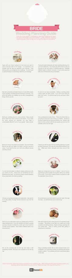All the steps of how to plan a wedding (the bride version). Crazy how much goes into a wedding these days. Good thing to share with your partner. #infographic #wedding