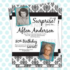 50th 60th 70th 80th 90th Birthday Party invitation Flier Invite Customized for you. $12.00, via Etsy.