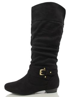 Soda Women's Demi Slouchy Strappy Buckle Knee High Low Heel Boot ** Click image for more details.