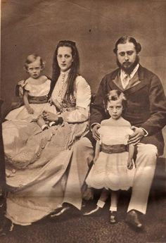 The Crown Prince Edward and Princess Alexandra of Wales with their two eldest sons, Prince Albert Victor and Prince George (later to become HM George V, owing to the early death of Albert Victor).  After the Duke of Edinburgh, Queen Alexandra is my closest Windsor cousin, both of us descend from Christian IX.