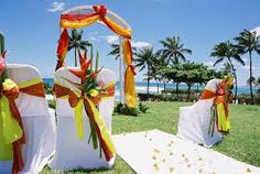 yellow and red tropical wedding