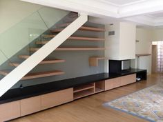Modern stairs - Building a two-story home in among the contemporary designs, among the major questions to be addressed is Stairs In Living Room, House Stairs, Staircase Storage, Staircase Design, Living Room Partition Design, Dining Room Design, Cabinet Under Stairs, Bungalow Haus Design, House Design Pictures