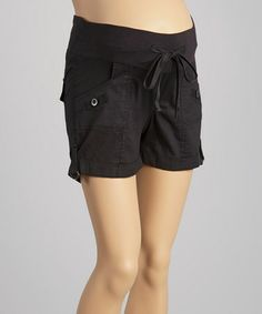 Love this Black Drawstring Under-Belly Maternity Cargo Shorts by Oh! Mamma on #zulily! #zulilyfinds