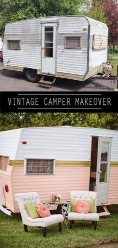Vintage Travel vintage camper makeover via I'm in love with this pink camper.and I don't even like camping! - This time, I'm doing Part my DIY Vintage Camper Makeover series. Let me show you How to Paint a Vintage Camper with style. Camping Vintage, Vintage Rv, Vintage Caravans, Vintage Travel Trailers, Vintage Motorhome, Vintage Camper Redo, Vintage Airstream, Vintage Stuff, Fiat Doblo Camper