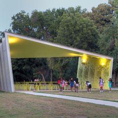 A modern park pavilion in Dallas