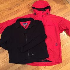 Ladies CB 3-in-1 Ski jacket size L CB brand 3-in-1 ski jacket is in very good condition. Ladies L. Shell is true red in color w either a zip or Velcro pocket everywhere u look! Jacket zips and/or velcros to neck and even has snaps at chin for extra warmth. Hood and waist have elastic pulls to tighten or losen for the perfect fit. Inside black fleece zip-up jacket is perfect worn alone too! CB Jackets & Coats