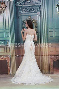 Strapless Court Train Satin Corset-back Most Beautiful Wedding Dress #lace #satin #corsetback #wedding #weddingdress #weddinggown #gownstyle