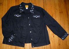 RUBY RD Black Western Denim Jean Jacket Stretchy Rhinestone Buttons Accents 16 #RubyRd #JeanJacket