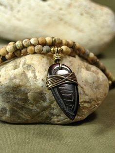 Mans Necklace  Beaded Necklace  Mans Jewelry  by StoneWearDesigns.etsy.com #men'sjewelry