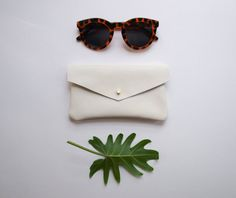 White Leather Envelope Pouch by kertis on Etsy, $28.00
