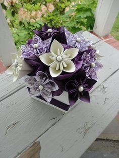 Origami papel flor central - Kusudama púrpura