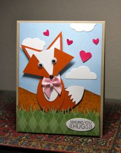 Foxy Hugs-Punches: Heart, Owl, Pennant, Oval CASED from Mallert. Sentiment non-SU