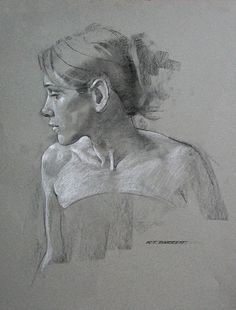 Robert T. Barrett, female portrait profile, charcoal and chalk drawing. roberttbarrett.com