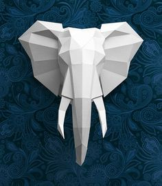 folded paper elephant mount
