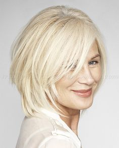 medium hairstyles for women over 50, glossing your gray/ white with a warmer shade can add warmth and glow to your skin.