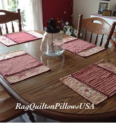 Gingerbread And Star Placemats, Red Homespun Placemats, Country Placemats,  Primitive Table Toppers, Appliquéd Table Mats, Red Placemats