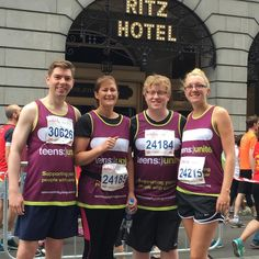 Four of our amazing runners at the British 10k London Run. Find your challenge at http://teensunitefightingcancer.org/what-can-you-do/challenges/