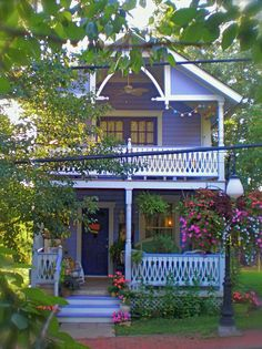 Two-story cottage in periwinkle blue! Love this old fashioned cottage! Cottage Porch, Cozy Cottage, Cottage Homes, Cottage Style, Cute Little Houses, Little Cottages, Cabana, Indoor Outdoor, Outdoor Living