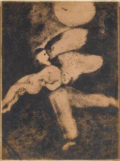 Марк Шагал -  И сотворил Бог человека, и вдунул в него дыхание жизни (Бытие II, 7)  (1956) - Открыть в полный размер