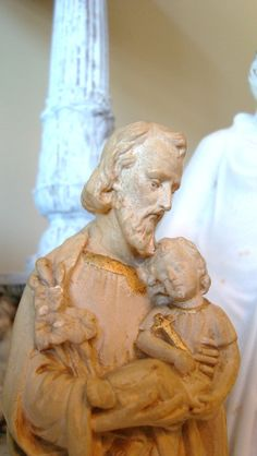 Antique French St Joseph Statue Signed by edithandevelyn on Etsy