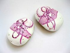 Painted Stones, Beach Stones, Baby Shoes, Painted Lake Stones, Shower Gift,  by gardenstones on etsy via Etsy