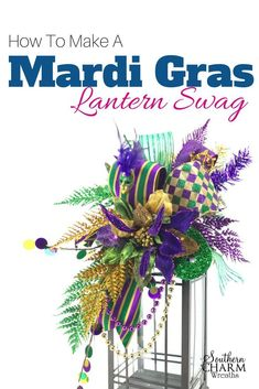 How to Make a Mardi Gras Lantern Swag Centerpiece - Lantern Swags are flower arrangements that adorn lanterns. In this video, I show you how to make a - Mardi Gras Centerpieces, Mardi Gras Decorations, Lantern Decorations, Masquerade Centerpieces, Mardi Gras Wreath, Mardi Gras Party, Cute Dorm Rooms, How To Make Wreaths, 4th Of July Wreath