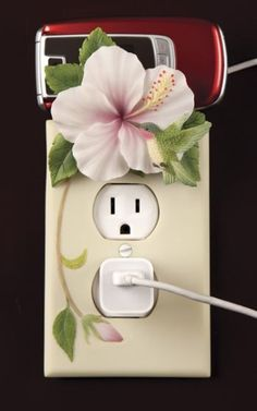 Hummingbird & Hibiscus Phone Charger Holder (1)