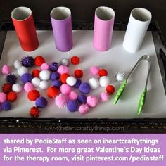 Love this!! Valentine's Day Pom Pom Sorting! Great fine motor. Speechies can put target sound on each tube! Who has other ideas for this fun activity? Please speak up here in the comments! -- As seen on IHeartCraftyThings.com via the PediaStaff Pinterest site (pinterest/pediastaff) #slpeeps #schoolslp #pediOT #occupationaltherapy #speechtherapy #ot2be #speechpath #ashaigers #Padgram