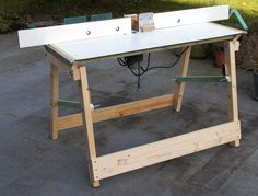 Home-made foldable routertable with self-made above-the-table routeradjustment.