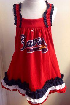 Braves ruffled pillow case tshirt dress - perfect for your little Atlanta Braves baseball fans, Size 5-6 on Etsy, $29.00