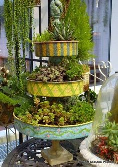 tiny gardens: A three-tiered, brightly painted planter with succulents of all types. Spotted at Northwest Flower & Garden Show. Garden Show, Dream Garden, Garden Crafts, Garden Projects, Pot Jardin, Plantation, Succulents Garden, Yard Art, Amazing Gardens