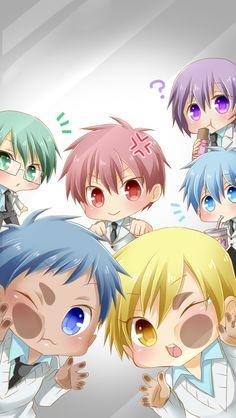 akashi seijuurou - aomine daiki - atsushi murasakibara - kise ryouta - kuroko no basuke - kuroko tetsuya - midorima shintarou Kawaii ^-^ Anime Chibi, Kuroko Chibi, Tv Anime, Manga Anime, Anime Plus, Kawaii Chibi, Fanarts Anime, Anime Kawaii, Anime Characters