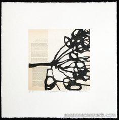 "Bibliophile 171  Susanne Carmack [2012]  monoprint/collagraph  12"" square image on 22""square paper  Collograph, variable edition print on vintage book pages"