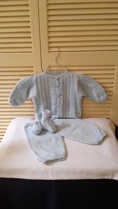 Boys Hand Knitted 3pc Outfit/Set / Infant 3 to 6 by LeonasDeLana