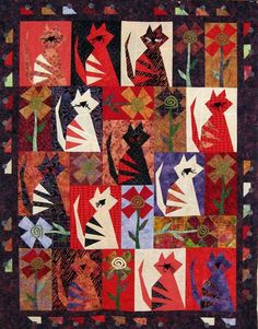Katnip Krazy is off to Kerry's Quilting! This Buggy Barn Pattern called Crazy Cats turned out real cute. I really like the Julanne Berg. Buggy Barn Quilt Patterns, Cat Quilt Patterns, Quilting Projects, Quilting Designs, Wildlife Quilts, Quilt Modernen, Fabric Animals, Animal Quilts, Cute Kittens