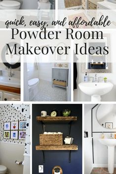 Easy, affordable, DIY powder room makeovers. Great ideas for half bath renovations on a budget! Diy Bathroom Decor, Budget Bathroom, Diy Home Decor, Bathroom Ideas, Bath Ideas, Bathroom Remodeling, Home Design, Bathroom Inspiration, Home Decor Inspiration